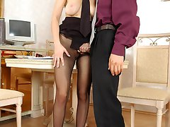 Awesome secretary ready to tear her pantyhose for outrageous sex in office