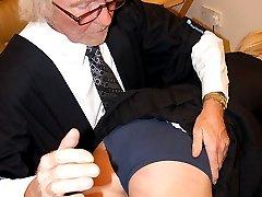 Stunning blonde school girl spanked otk on her navy knickers
