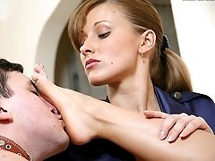 Uniformed police girl forces an outlaw to please her foot worship addicted girlfriend