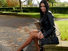 Kerrys sexy long legs and feet look amazing in her sheer nylon stockings and tall shiny high...