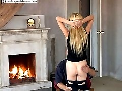 Stunning blonde with nice tits - naked bare bottom spanking - lovely ass cheeks red and sore