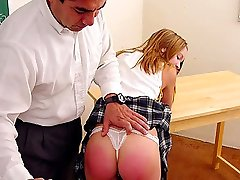 Slutty teen wearing lace panties spanked by handsome prof