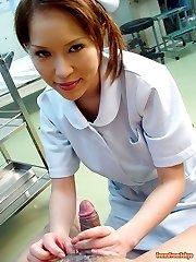 Japanese nurse sucking cock