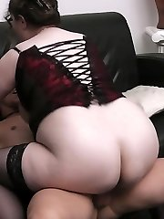 Sleazy BBW slut in nylon ruins family by fucking her married customer