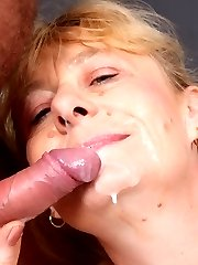 Pretty mature babe with a sexy fat ass Maria grinds her pussy on top and gets nasty cream in her...