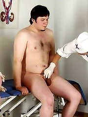 Two CFNM sluts milk a guy at the medical exam