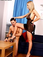 Russian mistress almost squashes yelling slaves dick with her high heels