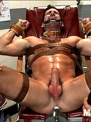 Hairy muscled stud Billy Santoro walks into the sperm bank looking to deposit some semen. When...