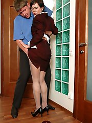 Luscious secretary in grey pantyhose surrenders to hot fucking on the floor