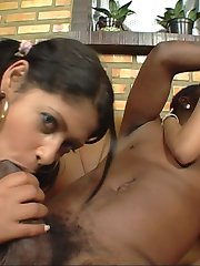 Two hot babes take a big black bat in every hole
