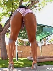 Banging ebony booty gets oiled up for some anal