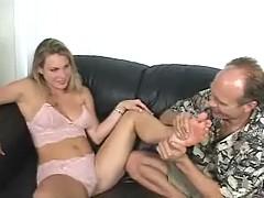 Big tit blonde in undies gets her toes sucked