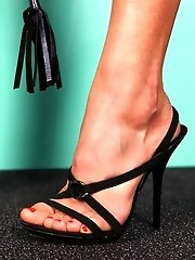 Obedient slave scared of whip tickles dommes feet with his dirty tongue