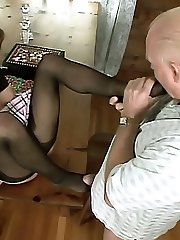 Naughty Natalie Sky gets her stockinged feet and toes licked before she foot fucks