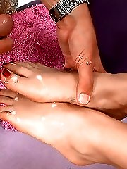 hot babe gives her partner a wild foot job