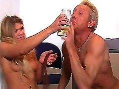 Foot slave drinks mistresses pee