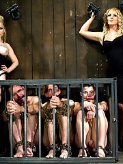 Goddess Aiden Starr and Mistress Ashley Edmonds put three new pieces of slave meat to the test...