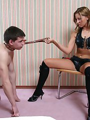 Tanya makes the slave suffer plenty of humiliations whipping, spitting and so on