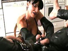She puts a rubber tube up his ass with a funnel attached. What do you think the queen of casual...