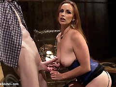 Mistress Bella Rossi electrifies her rock-hard stallion and uses his electrified assets and lollipop as a human dildo for the pleasure of her divine pussy. Rough female domination bondage fuck-fest, cock taunt, punishment and hard pegging are all included!