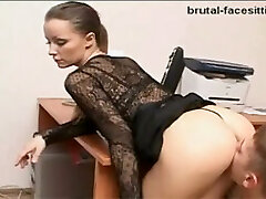 Naughty strict lady boss enjoys when the system administrator eats her out