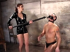 Welcome Sadism & Masochism lifestyle couple Swiss and rox who come to men in pain to study a role reversal. Miss Swiss who is the submissive at home straps on to ass pound Her guy for the first time on camera. Their chemistry is a heated mixture of wet sexual force and sweet knowing smiles as Swiss trusses, flogs and taunts Her slave.  Rox provides pussy licking sheer pleasure for his Miss, endures cbt and a excruciating session of clothes pins being slapped off his flesh.