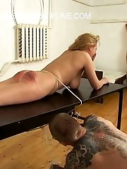 Brutal canings for beautiful russian girls - tied on a table