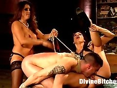 Mistress Francesca Le and Goddess Nicki Hunter join forces and devour 21 year old Tyler...