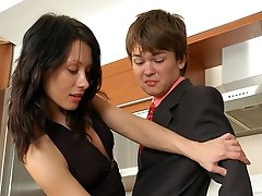 Fucking hot chick is about to slide her strap-on into guys tight banghole