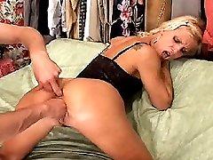 Trailer trash blond gets brutally fisted in her loose cunt