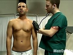 Our two delinquents, Sebastian and Van, have to work off their community service hours for getting caught edging some hot stud as janitors at a local hospital.  It's late one evening and a frazzled patient arrives for an appointment.  The 23 year old patient's name is Carter West, he explains that he is leaving the country and needs a physical exam ASAP.  The two assume the role of doctor, telling him to
