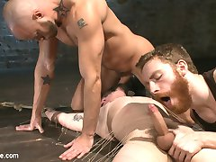 Jackson Filmore is passed out at home when Sebastian and Jesse decided they need a boy to torment and edge. After taking Jackson out of his home they bring him to their underground Boiler Room and tie him spread eagle on the floor, his body pressed to the floor with tight twine as he's edged repeatedly. Jackson begs to cum but with the bondage so tight he can barely squirm. Jesse feeds him his cock while Sebastian licks his feet and Jackson can't contain himself, but Sebastian denies him again and again. Tied to the boiler, Jackson gets turned around for an ass fuck by the vibrating dildo that nearly shoots a load out of him. Fully suspended from the giant device he gets another fuck that makes him cum but it's the post-orgasm torment that really sends him reeling.