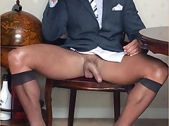 Hunky Marcello can't wait to get out of that suit and wank his big hard cock