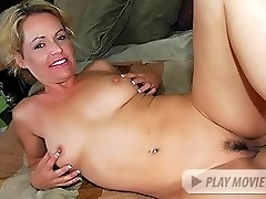 Blonde chick Kelly Leigh shows off her her hairy natural pussy and gets it crammed with a big...