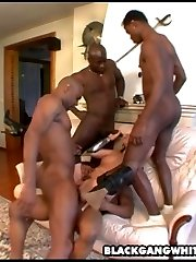 white slut fucks a group of black cocks