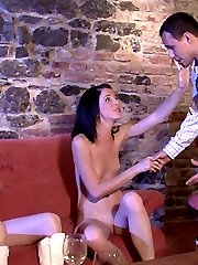 Slim cute brunette girlfriend has drunk lez sex with her bfs mother and he sees them