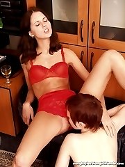Sexy lesbian babes fingering pussies, toying and showing round butts