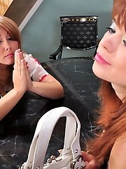 Sapphic doll fulfills her desire finding a faux-cock and riding it with her ass