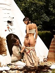 Navajo cuties have sex by tee pee