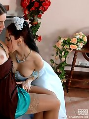 Older lesbian making a young bride cheat her fiance playing slits and clits