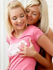 Angelic blondes fuck with a dildo