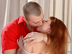 Redhead babe taking advantage of pantyhose sex with her well-hung boyfriend