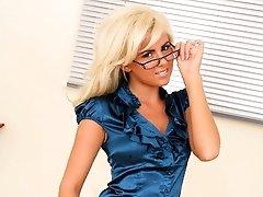 Hannah the delightful secretary in stockings