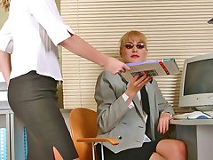 Salacious secretary babes in lacy hose fulfilling their nasty nylon dreams