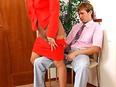 Smashing mature gal in slight sheen pantyhose scamming to get a hard pecker
