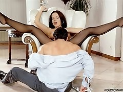 Magnificent brunette fucking in seamed stockings