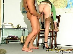 Unabashed nylon clad coed seducing her educator and getting hammered hard