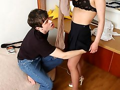 Luscious chick in skin-colored hosepipe in mind-deepthroating upskirt flash scenes