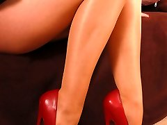 Angel in 7 inches high stilettos and sheer pantyhose