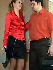 Lewd secretary in glossy pantyhose puts aside the documents for hard doggie